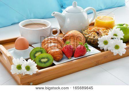 Breakfast Tray In Bed In Hotel Room