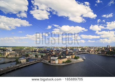 STOCKHOLM, SWEDEN - JUNE 27, 2016: This is aerial view of the central part of the city.