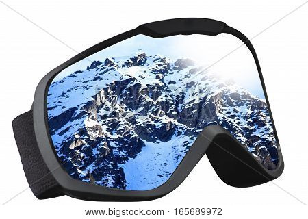skier mask with reflection of the top of the mountain