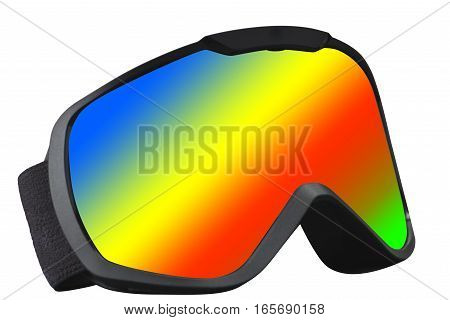 skier mask with rainbow reflection on the white