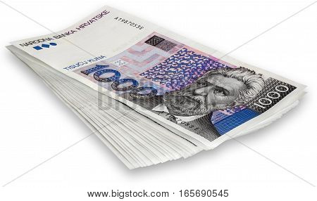 Bunch Croatian banknotes 1000 kunas isolated on white background with Clipping Path