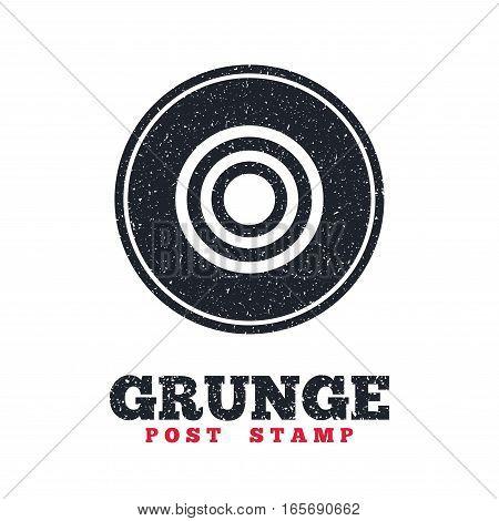 Grunge post stamp. Circle banner or label. Target aim sign icon. Darts board symbol. Dirty textured web button. Vector