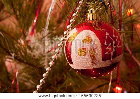 Christmas ornaments on the Christmas tree. Christmas decorations. vintage.