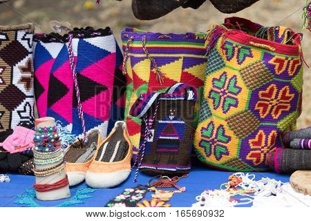hand knitted Colombian indigenous bags in Silvia