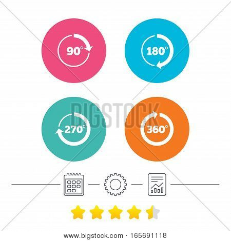 Angle 45-360 degrees circle icons. Geometry math signs symbols. Full complete rotation arrow. Calendar, cogwheel and report linear icons. Star vote ranking. Vector