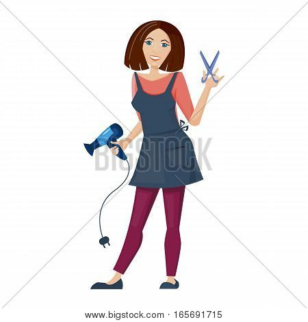 Hairdresser  is standing with scissors and hairdryer. Girl or women for barber shop. Vector illustration. Cartoon style