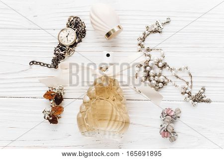 Fashion Blogger. Luxury  Essentials  Jewelry Perfume Flat Lay On White Rustic Wooden Table With Spac