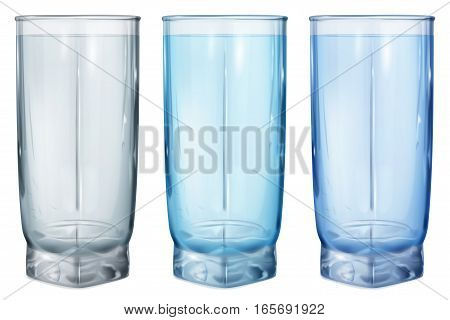 Three Opaque Glasses For Water Or Juice