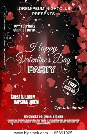 Vector Happy Valentine's Day night party poster on the gradient dark red background with hearts.