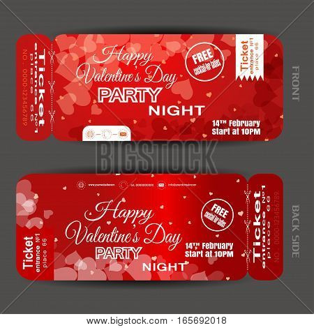 Vector Happy Valentine's Day night party ticket on the red gradient background with hearts.