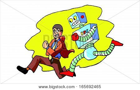 an employee is a race with robot with a sense of joy