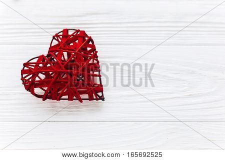 Valentine Concept. Stylish Heart On White Wooden Background. Happy Valentines Day. Greeting Card Wit