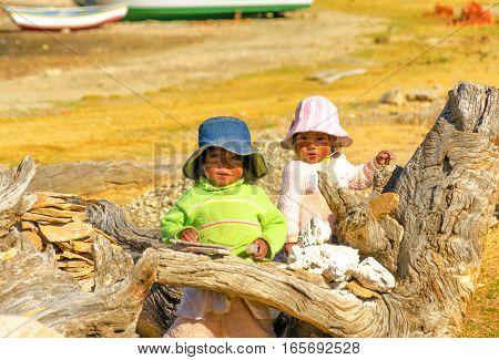 ISLA DEL SOL BOLIVIA - AUGUST 18: Two small indigenous children on Isla del Sol Bolivia on August 18 2014
