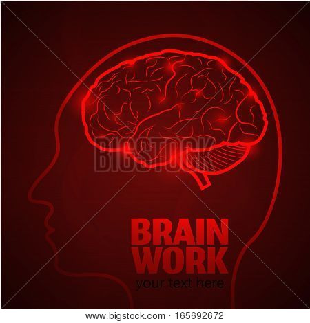 Human Brain Logo, Neurology Anatomical Conception.Cerebrum and Cerebellum, Medical Logo Brain Work in human head logo silhouette on dark red luminous background.Mind thoughts shines as Synapses