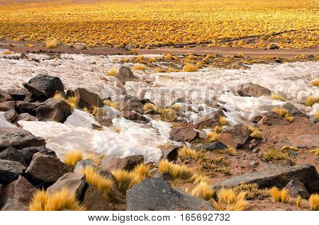 Snow in the highlands of the Atacama Desert in Chile