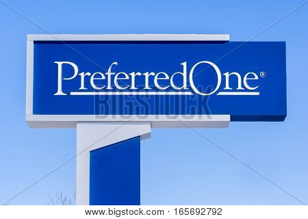 MINNEAPOLIS MN/USA - JANUARY 14 2017: PreferredOne exterior sign and logo. PreferredOne offers individual health insurance family medical plans and group health insurance.