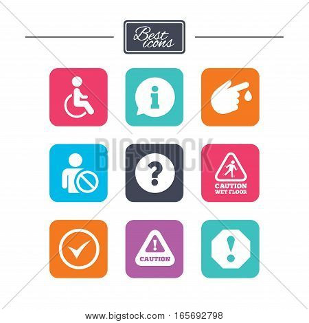 Attention notification icons. Question mark and information signs. Injury and disabled person symbols. Colorful flat square buttons with icons. Vector