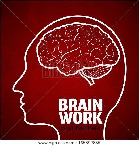 Human Brain Logo, Neurology Anatomical Conception.Cerebrum and Cerebellum, Medical Logo Brain Work in human head logo silhouette on dark red dna pattern background.Cerebral Brain Neurology Vector Logo