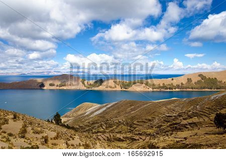 Beautiful landscape view of the Island of the Sun and Lake Titicaca in Bolivia