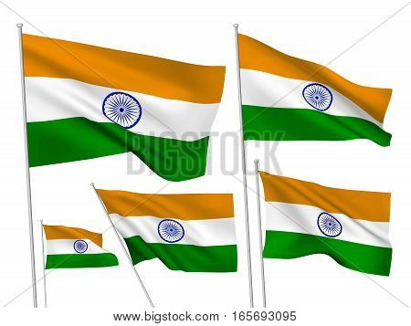 India vector flags. A set of 5 wavy 3D flags created using gradient meshes