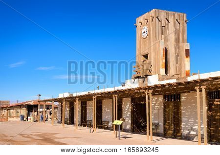 Town square of the abandoned ghost town of Humberstone Chile