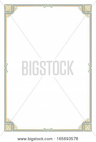 Ornate rectangular color frame. Page decoration, corners. A4 page proportions. Art Nouveau style.