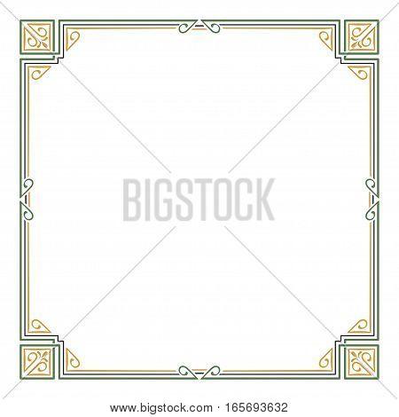 Ornate color square frame, corners. Art Nouveau style.