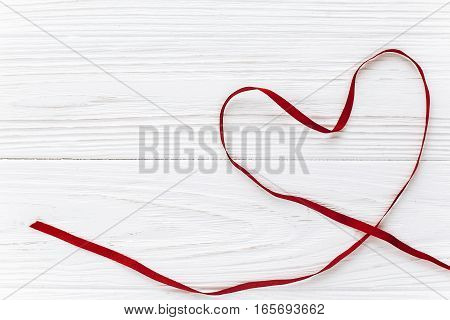 Stylish Ribbon Heart Flat Lay On White Wooden Background. Happy Valentines Day Concept. Greeting Car
