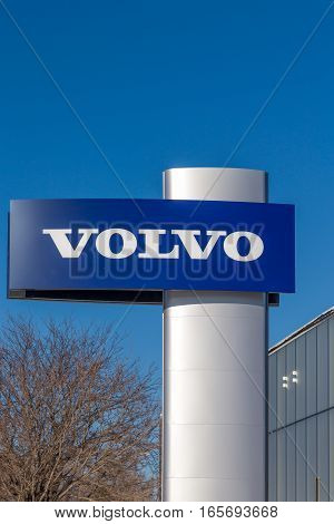 Volvo Automobile Dealership And Sign