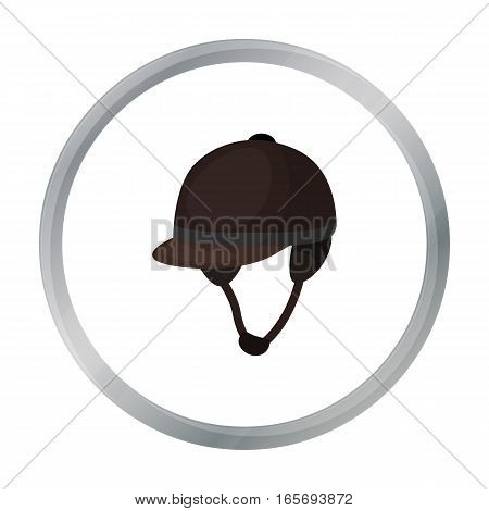 Jockey's helmet icon in cartoon design isolated on white background. Hippodrome and horse symbol stock vector illustration.