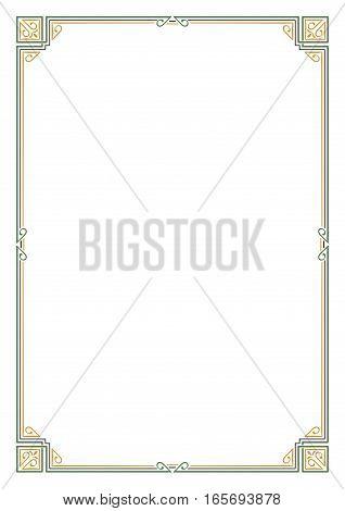 Ornate rectangular color frame. Page decoration, corners. A4 page proportions. Art Nouveau style.