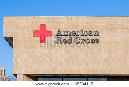 ST. PAUL MN/USA - JANUARY 14 2017: American Red Cross exterior sign and logo. The American Red Cross is a humanitarian organization that provides disaster relief and education in the United States.
