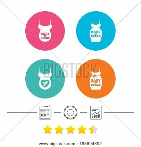 Baby on board icons. Infant caution signs. Child pacifier nipple. Pregnant woman dress with big belly. Calendar, cogwheel and report linear icons. Star vote ranking. Vector