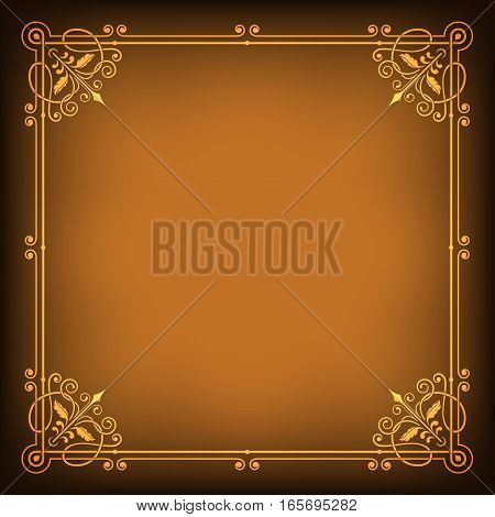 Ornate square golden frame on dark saturated background. Page decoration, corners. Transparency effects applied.