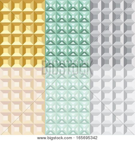 Set of six seamless geometric patterns. Yellow, green and gray tints and shades.
