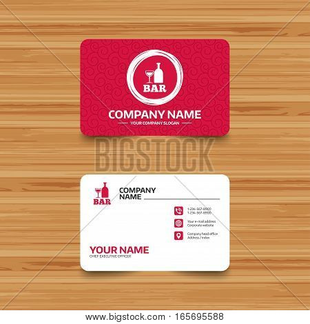 Business card template with texture. Bar or Pub sign icon. Wine bottle and Glass symbol. Alcohol drink symbol. Phone, web and location icons. Visiting card  Vector