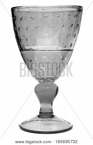Chrystal glass with champagne or water isolated on white.