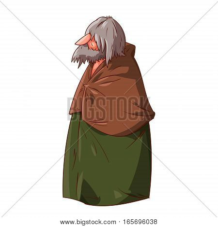 Colorful vector illustration of a fantasy medieval or mar from the past. Stranger traveler or a hobo with grey hair