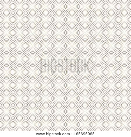 Seamless geometric pattern of concentric circles. Shades of light brown. Transparent background.