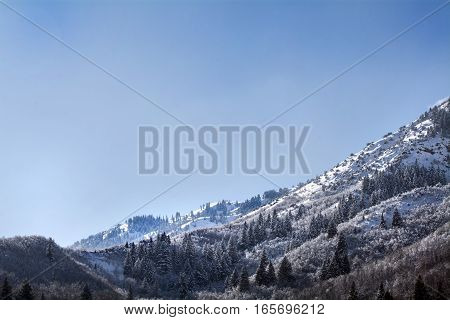 wasatch mountains background in northern utah where it is popular to ski and travel