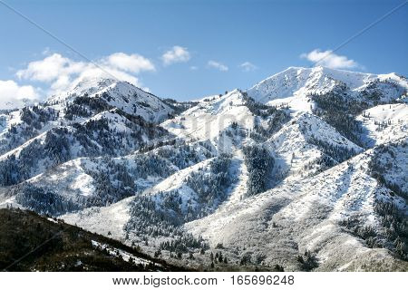 Wasatch mountains in ogden utah near salt lake where there is skiing and snowboarding and winter sports