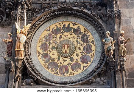 Close up of the lower clock face and statues of the astronomical clock in Prague, Czech Republic.