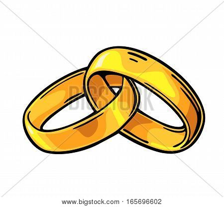Golden wedding rings. Hand drawn in a graphic style. Vintage color vector flat illustration for info graphic poster web. Isolated on white background
