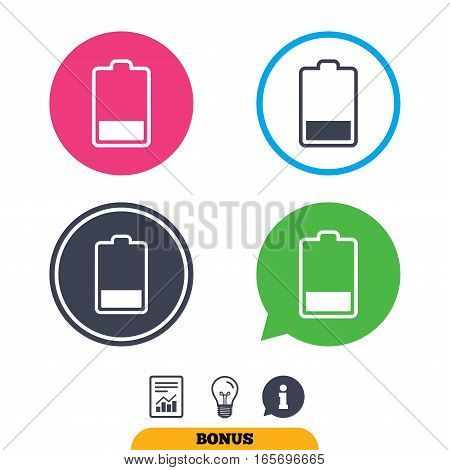 Battery low level sign icon. Electricity symbol. Report document, information sign and light bulb icons. Vector