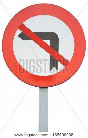 road sign turning left is prohibited isolated on white background