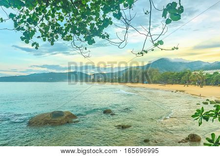 Landscape with sea and beach at sunrise Thailand Phuket island