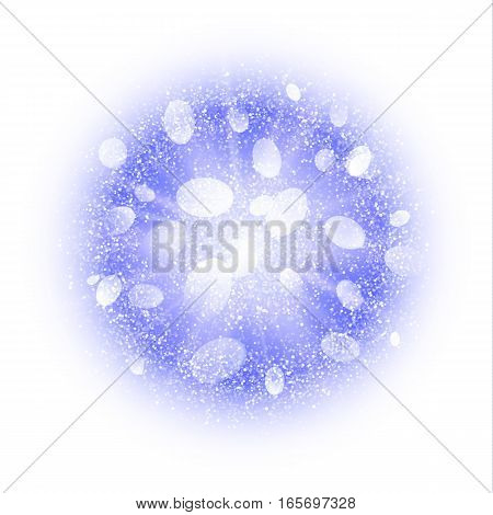 Abstract explosion with blue and white dust elements isolated on white. Burst of icy snow ball. Bright dust firework light effect with blue glow. Sparkles splash powder background. Vector illustration