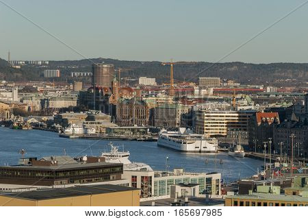 Gothenburg City in Sweden in winter by the river