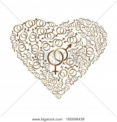 Heart consisting of gender symbols. Heart composed of gold elements. Male and female gender symbols arranged in a heart shape. Vector illustration