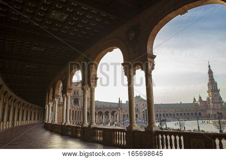 Spain Square Plaza de Espana Seville Spain. View from porch between arches and columns